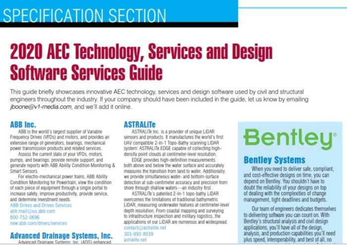 Specification Section 2020 Aec Technology Services And Design Software Services Guide Informed Infrastructure